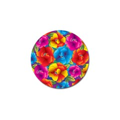 Neon Colored Floral Pattern Golf Ball Marker