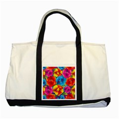 Neon Colored Floral Pattern Two Tone Tote Bag