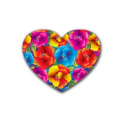 Neon Colored Floral Pattern Heart Coaster (4 Pack)