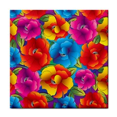 Neon Colored Floral Pattern Face Towel