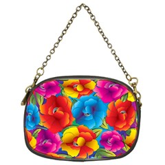 Neon Colored Floral Pattern Chain Purses (two Sides)