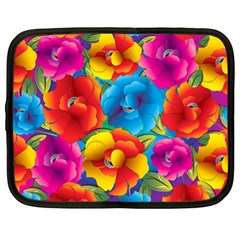 Neon Colored Floral Pattern Netbook Case (xl)