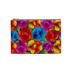 Neon Colored Floral Pattern Cosmetic Bag (medium)