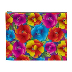Neon Colored Floral Pattern Cosmetic Bag (xl)