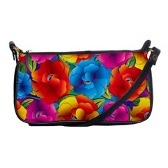 Neon Colored Floral Pattern Shoulder Clutch Bags