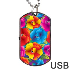 Neon Colored Floral Pattern Dog Tag Usb Flash (two Sides)