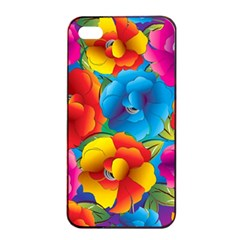 Neon Colored Floral Pattern Apple Iphone 4/4s Seamless Case (black)