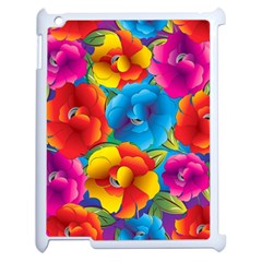 Neon Colored Floral Pattern Apple Ipad 2 Case (white)