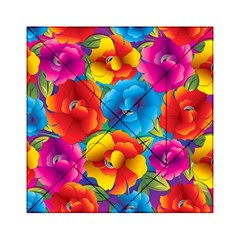 Neon Colored Floral Pattern Acrylic Tangram Puzzle (6  X 6 )