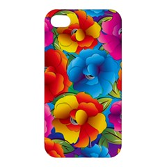Neon Colored Floral Pattern Apple Iphone 4/4s Premium Hardshell Case