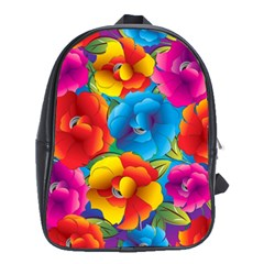 Neon Colored Floral Pattern School Bag (xl)