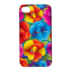 Neon Colored Floral Pattern Apple Iphone 4/4s Hardshell Case With Stand