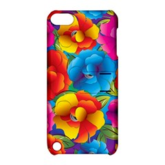 Neon Colored Floral Pattern Apple Ipod Touch 5 Hardshell Case With Stand