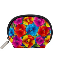 Neon Colored Floral Pattern Accessory Pouches (small)