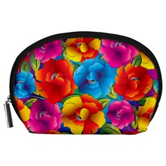 Neon Colored Floral Pattern Accessory Pouches (large)