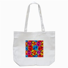 Neon Colored Floral Pattern Tote Bag (white)