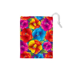Neon Colored Floral Pattern Drawstring Pouches (small)