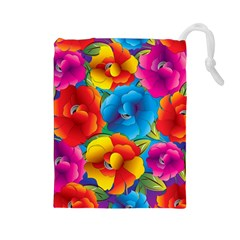 Neon Colored Floral Pattern Drawstring Pouches (large)