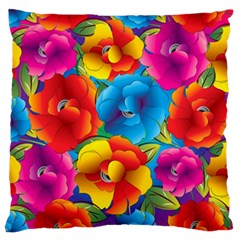 Neon Colored Floral Pattern Large Flano Cushion Case (one Side)