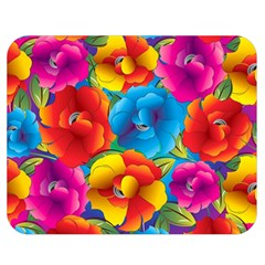 Neon Colored Floral Pattern Double Sided Flano Blanket (medium)