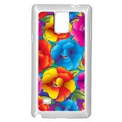 Neon Colored Floral Pattern Samsung Galaxy Note 4 Case (white)