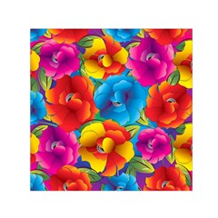 Neon Colored Floral Pattern Small Satin Scarf (square)