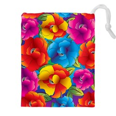 Neon Colored Floral Pattern Drawstring Pouches (xxl)