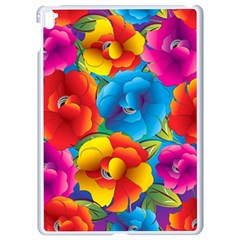 Neon Colored Floral Pattern Apple Ipad Pro 9 7   White Seamless Case