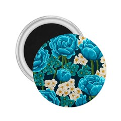 Light Blue Roses And Daisys 2 25  Magnets