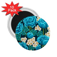 Light Blue Roses And Daisys 2 25  Magnets (10 Pack)