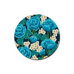 Light Blue Roses And Daisys Rubber Round Coaster (4 Pack)