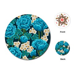 Light Blue Roses And Daisys Playing Cards (round)
