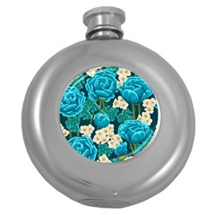 Light Blue Roses And Daisys Round Hip Flask (5 Oz)