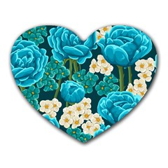 Light Blue Roses And Daisys Heart Mousepads
