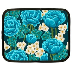 Light Blue Roses And Daisys Netbook Case (large)