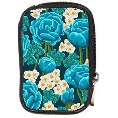 Light Blue Roses And Daisys Compact Camera Cases