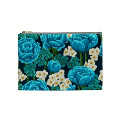 Light Blue Roses And Daisys Cosmetic Bag (medium)