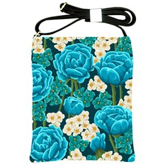 Light Blue Roses And Daisys Shoulder Sling Bags