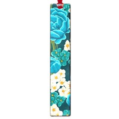 Light Blue Roses And Daisys Large Book Marks