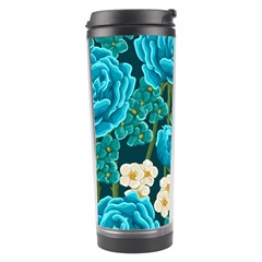 Light Blue Roses And Daisys Travel Tumbler