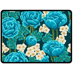Light Blue Roses And Daisys Double Sided Fleece Blanket (large)