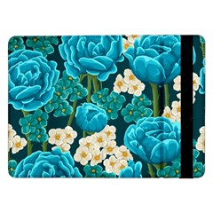 Light Blue Roses And Daisys Samsung Galaxy Tab Pro 12 2  Flip Case