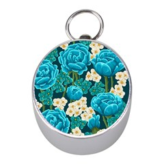 Light Blue Roses And Daisys Mini Silver Compasses