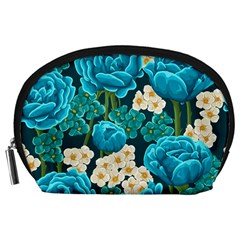 Light Blue Roses And Daisys Accessory Pouches (large)