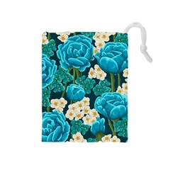 Light Blue Roses And Daisys Drawstring Pouches (medium)