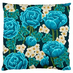 Light Blue Roses And Daisys Standard Flano Cushion Case (one Side)