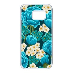 Light Blue Roses And Daisys Samsung Galaxy S7 White Seamless Case