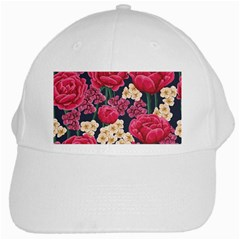 Pink Roses And Daisies White Cap