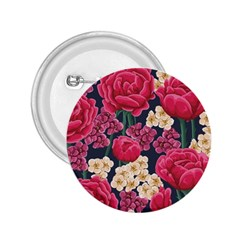 Pink Roses And Daisies 2 25  Buttons