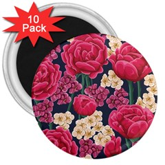 Pink Roses And Daisies 3  Magnets (10 Pack)